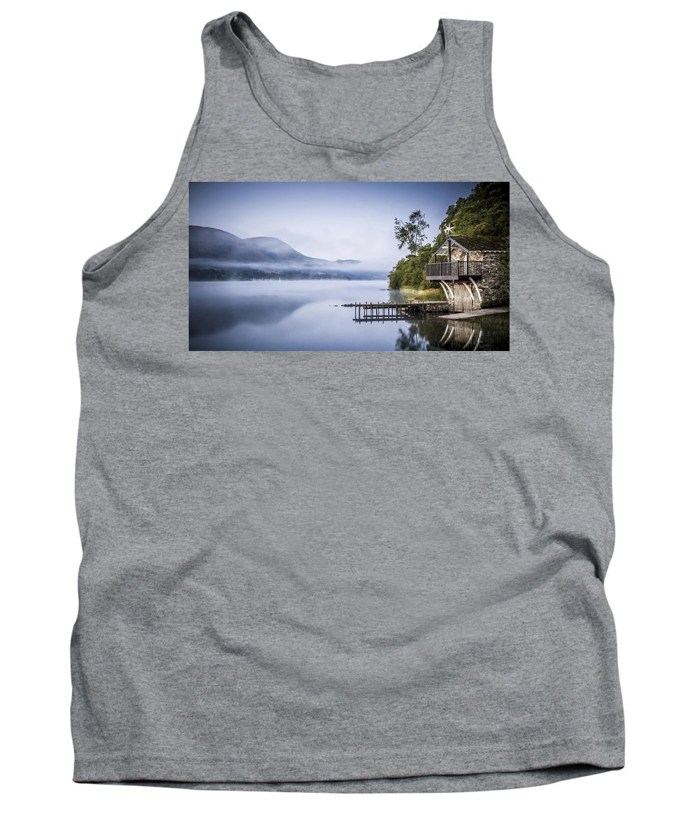 Dawn Tank Top featuring the photograph Boathouse At Pooley Bridge by Neil Alexander