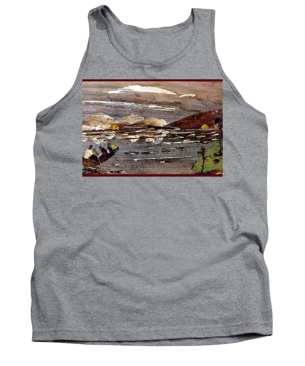 Boating Scene Tank Top featuring the mixed media Boating In River by Basant Soni