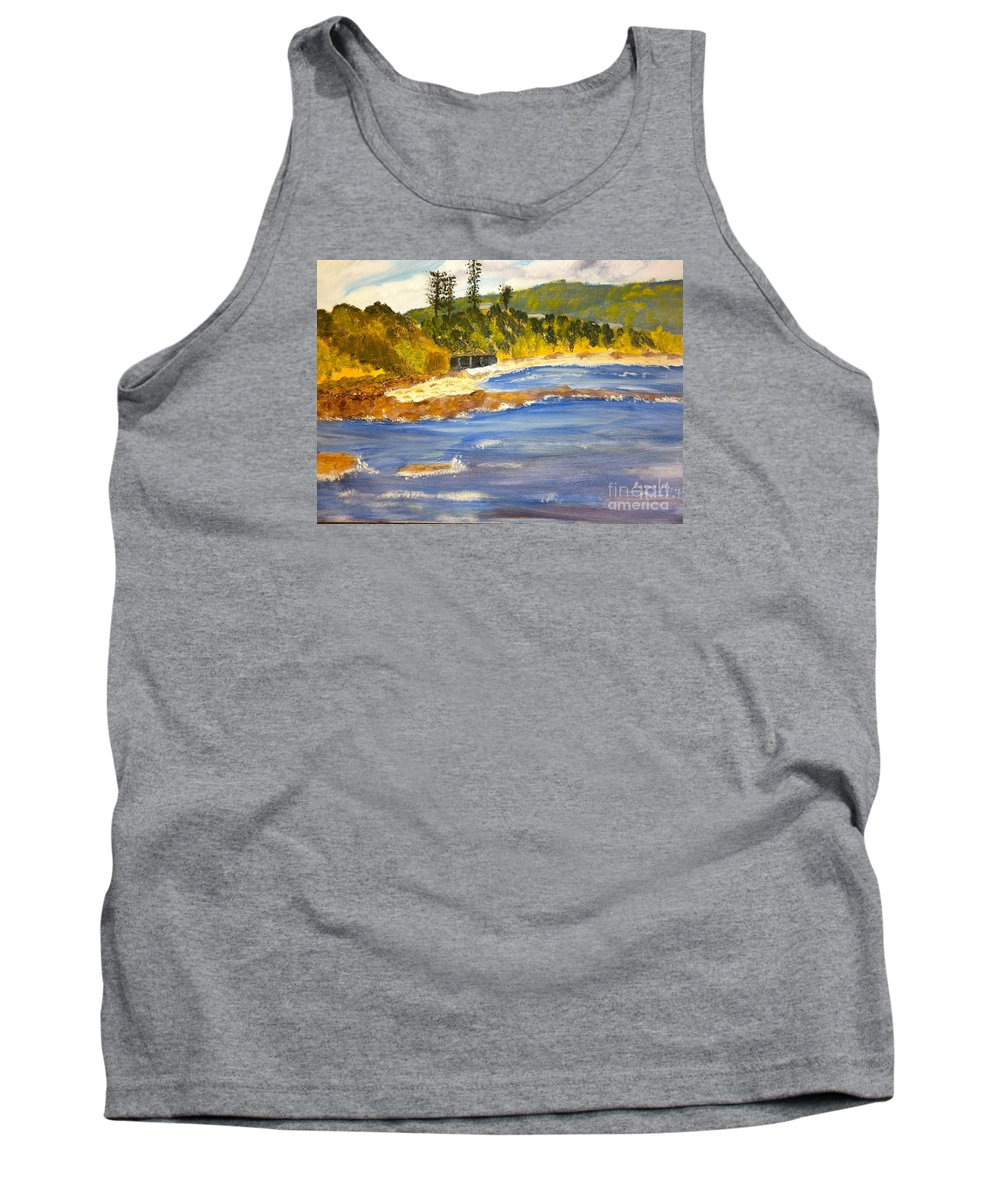 Impressionism Tank Top featuring the painting Boatsheds At Sandon Point by Pamela Meredith