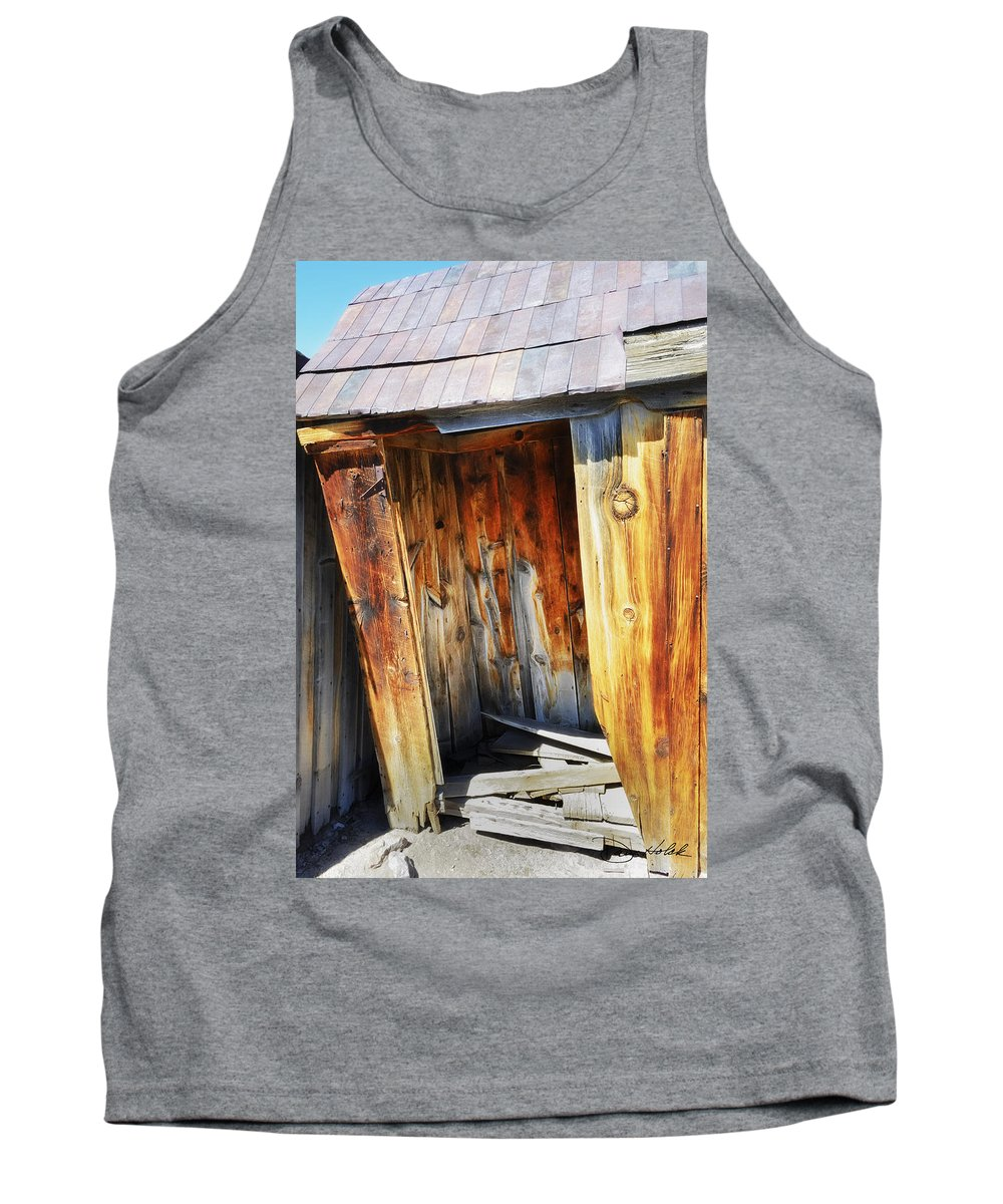 Bodie Ca Tank Top featuring the photograph Bodie Decaying Privy by Doug Holck