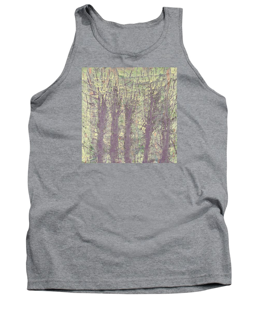 Abstract Tank Top featuring the painting Bog Forms Through Fog by Martin DeWitt
