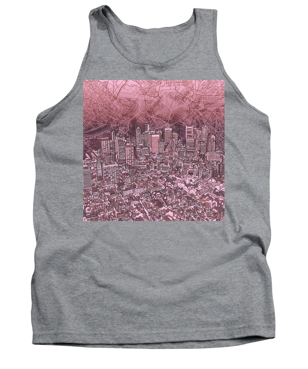 Boston Tank Top featuring the painting Boston Panorama Abstract by Bekim Art