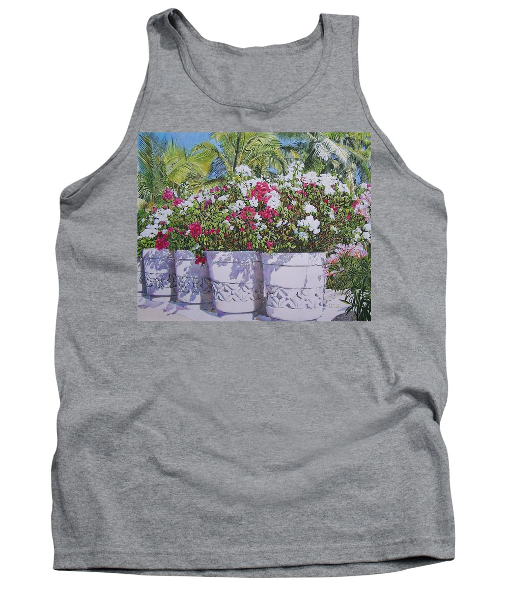 Flowers Tank Top featuring the mixed media Bougainvillea by Constance Drescher