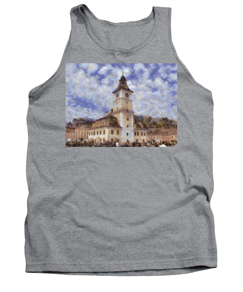 Architecture Tank Top featuring the painting Brasov City Hall by Jeffrey Kolker