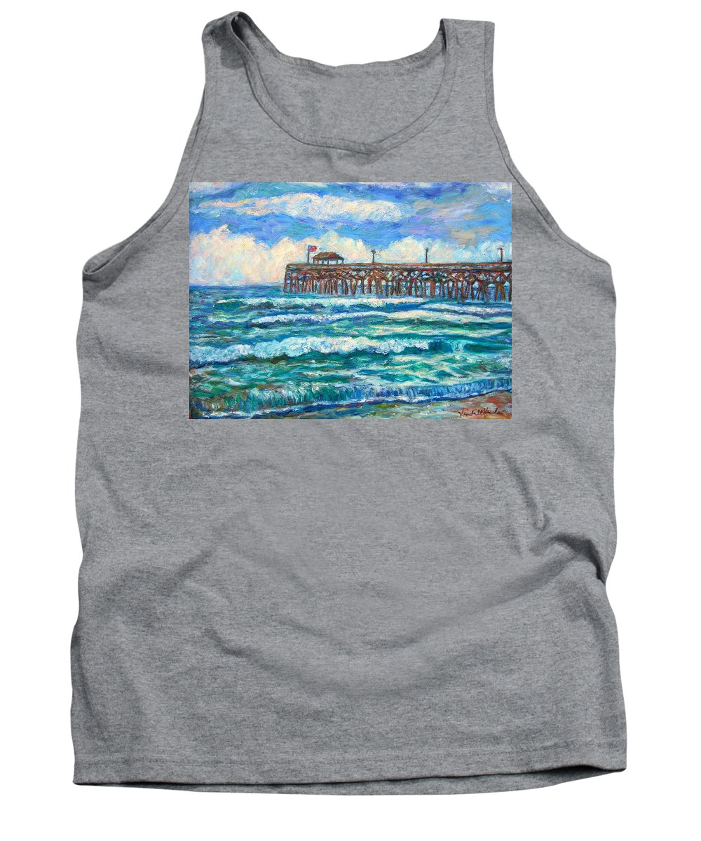Shore Scenes Tank Top featuring the painting Breakers At Pawleys Island by Kendall Kessler