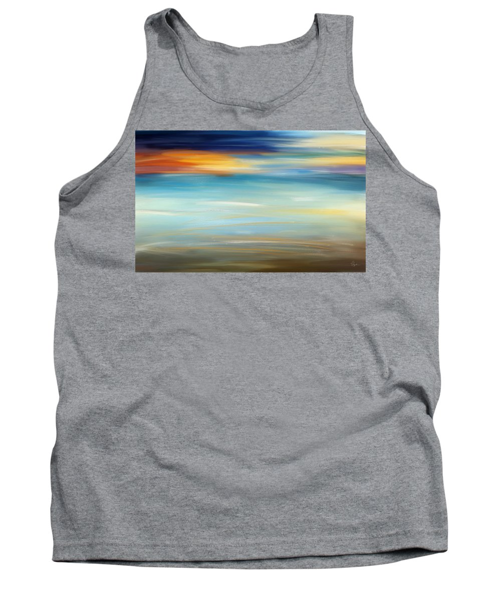 Seascapes Abstract Tank Top featuring the painting Breeze-seascapes Abstract Art by Lourry Legarde