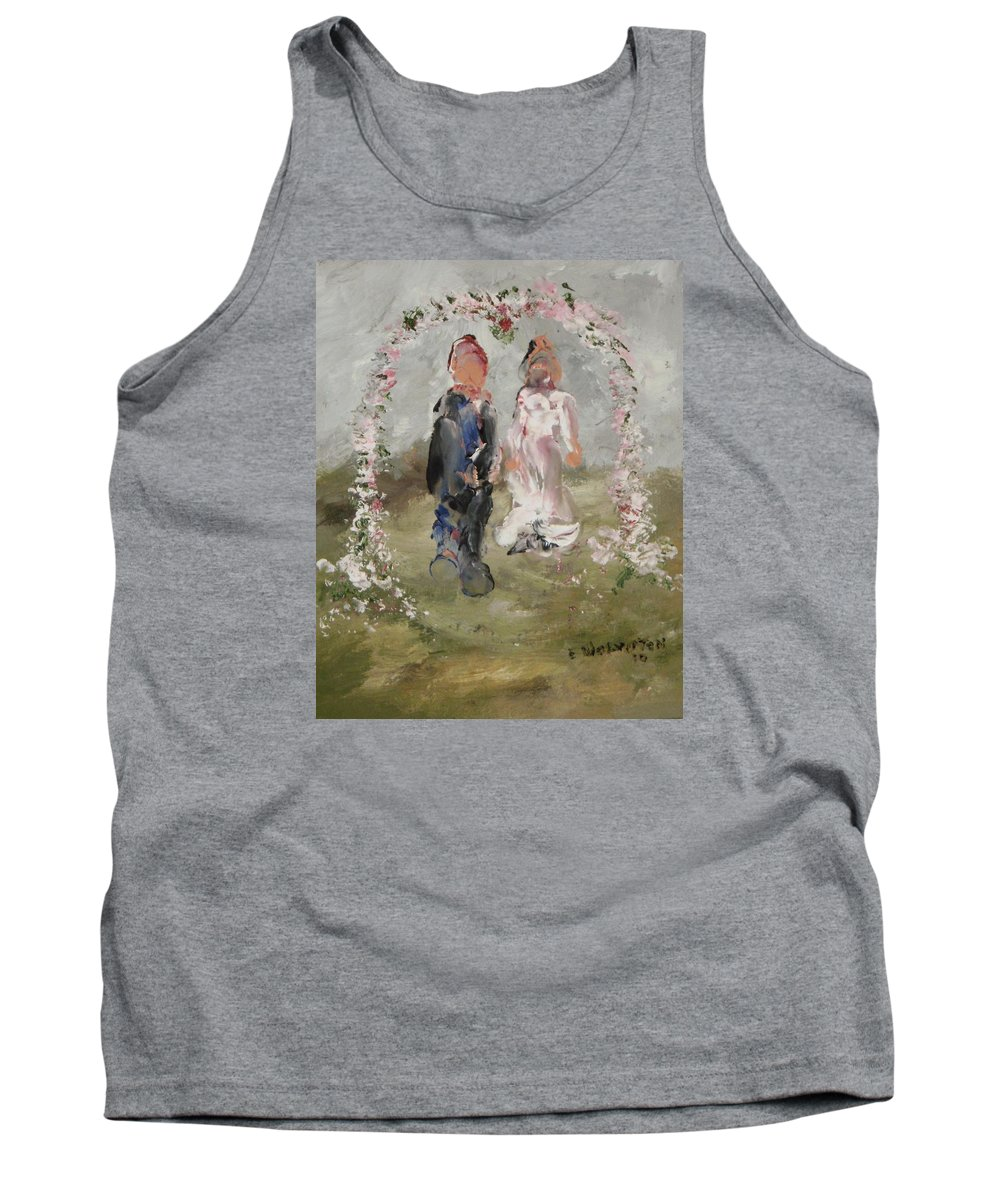 The Wedding Day- Impression Tank Top featuring the painting Bride And Groom by Edward Wolverton