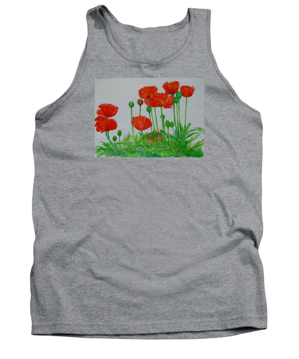 Red Poppies Tank Top featuring the painting Red Poppies Colorful Flowers Original Art Painting Floral Garden Decor Artist K Joann Russell by K Joann Russell