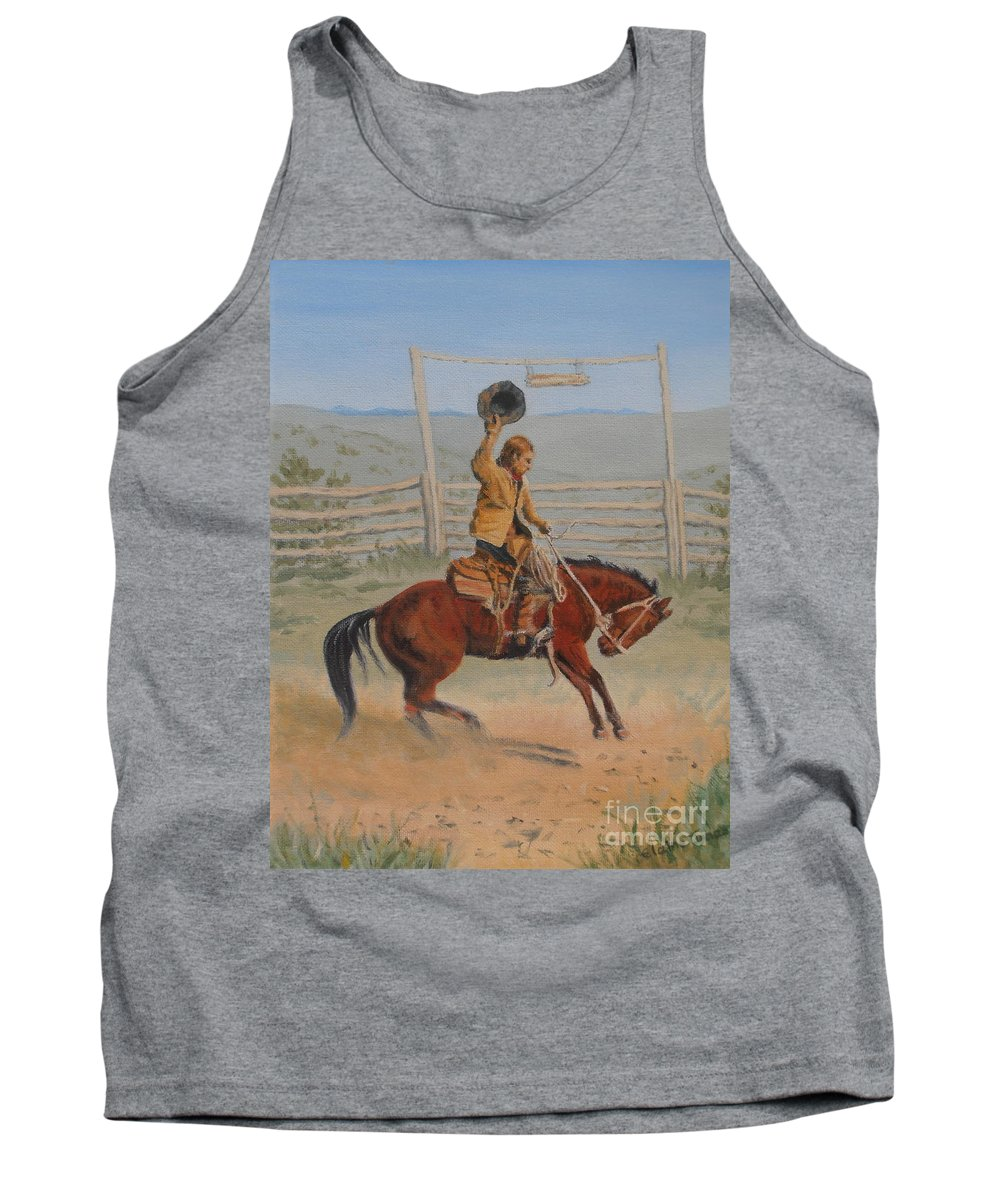 Cowboy Tank Top featuring the painting Bronco by Elaine Jones