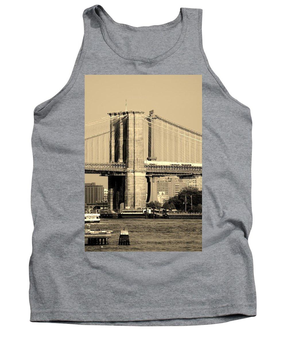 Brooklyn Bridge Tank Top featuring the photograph BROOKLYN and MANHATTAN BRIDGES in SEPIA by Rob Hans