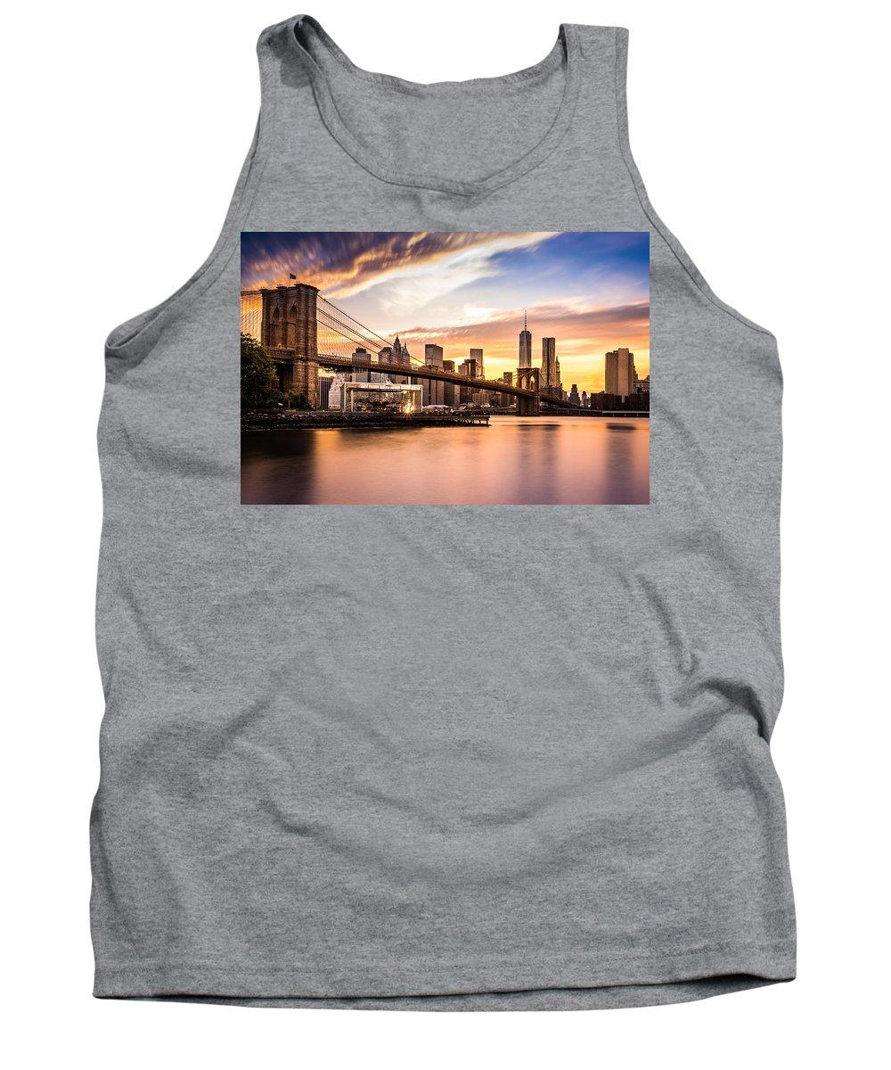 America Tank Top featuring the photograph Brooklyn Bridge At Sunset by Mihai Andritoiu