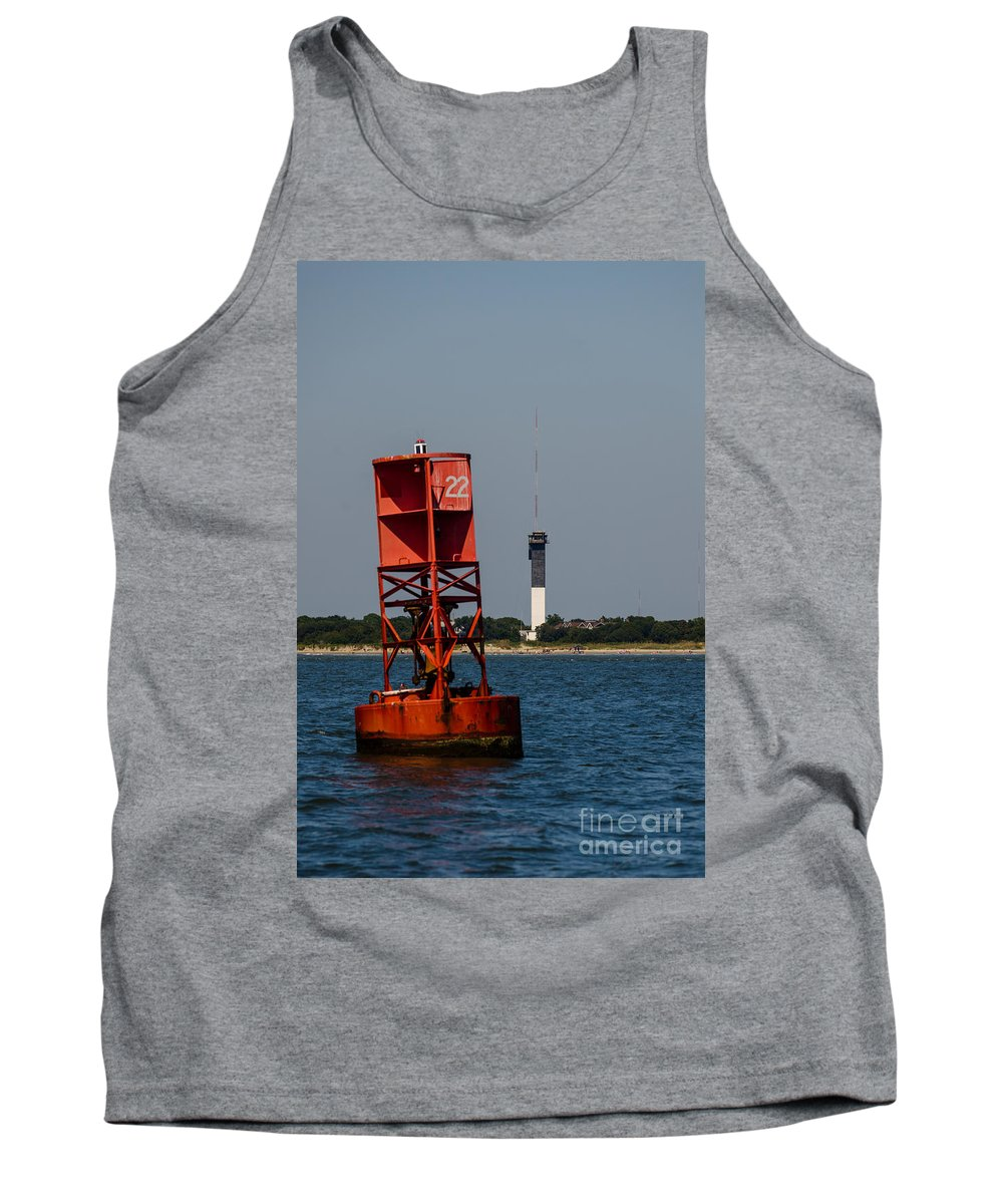 Sullivan's Island Lighthouse Tank Top featuring the photograph Buoy To Lighthouse by Dale Powell