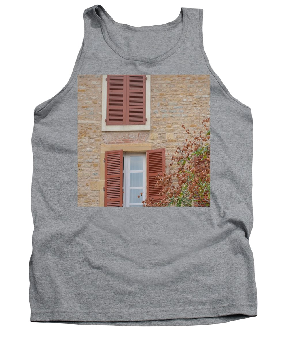 France Tank Top featuring the photograph Rust Coloured Shutters by Cheryl Miller