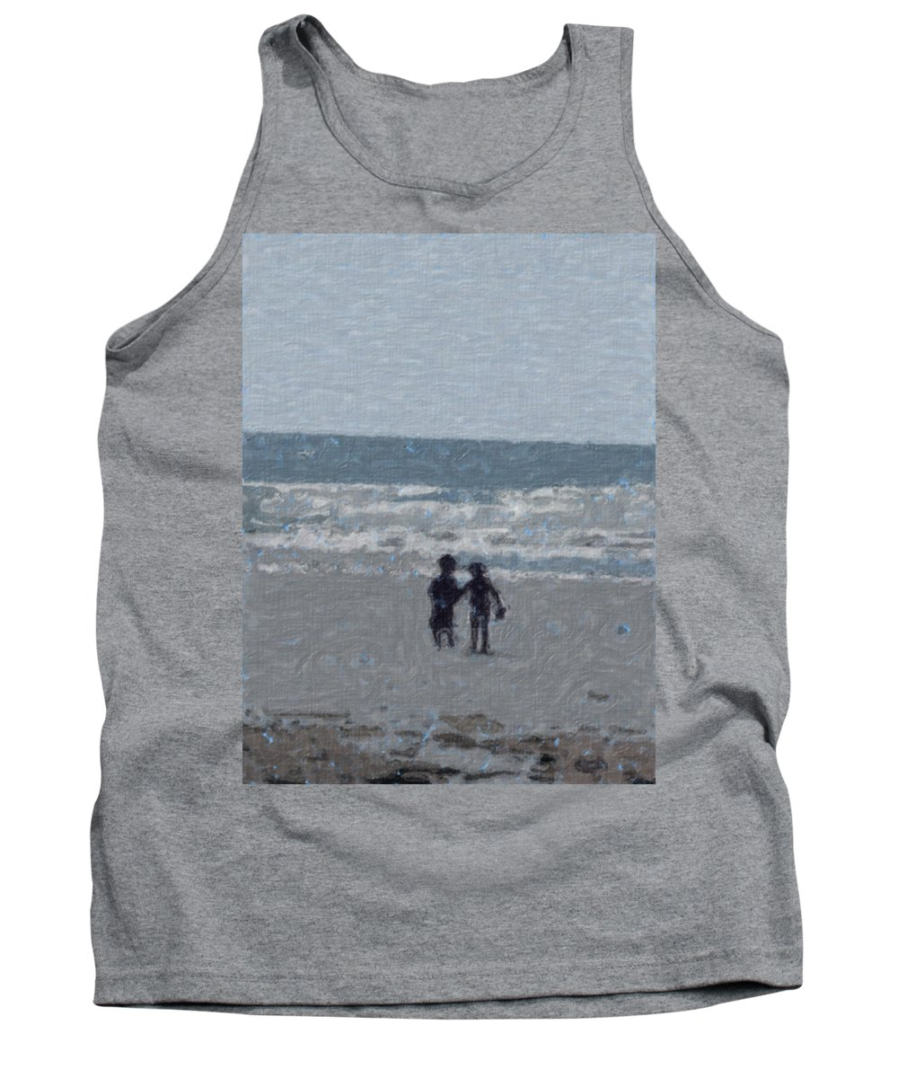Fun Tank Top featuring the painting By The Ocean by Sergey Bezhinets