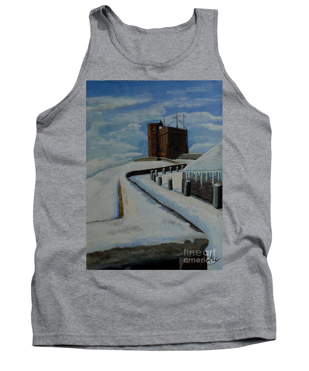 Landscape Tank Top featuring the painting Cabot Tower Newfoundland by Anthony Dunphy