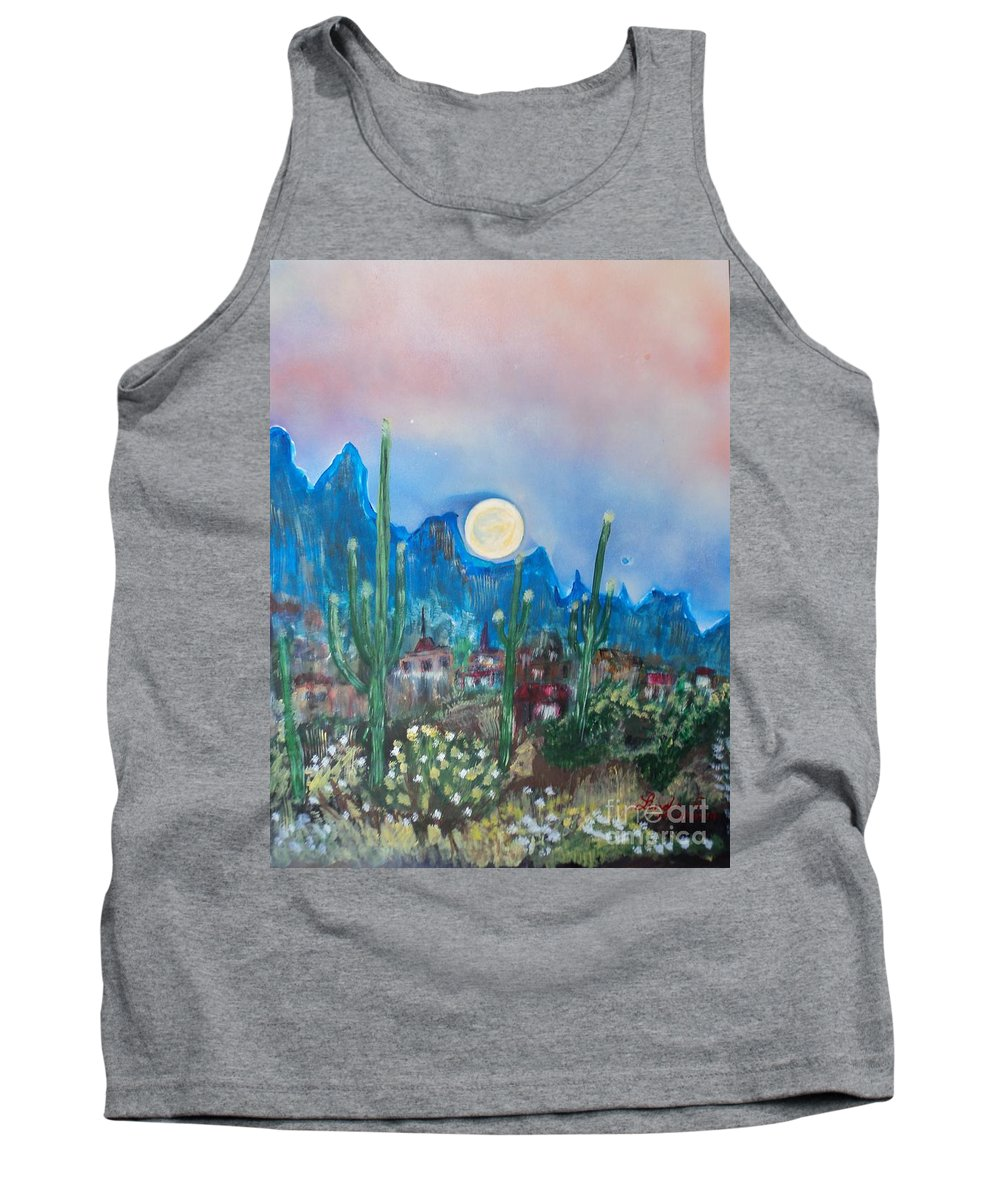 Cactus Tank Top featuring the painting Cactus Valley by Linda Lin