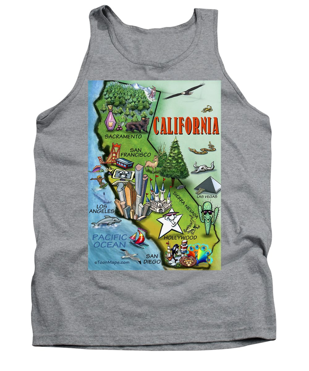 California Tank Top featuring the digital art California Cartoon Map by Kevin Middleton