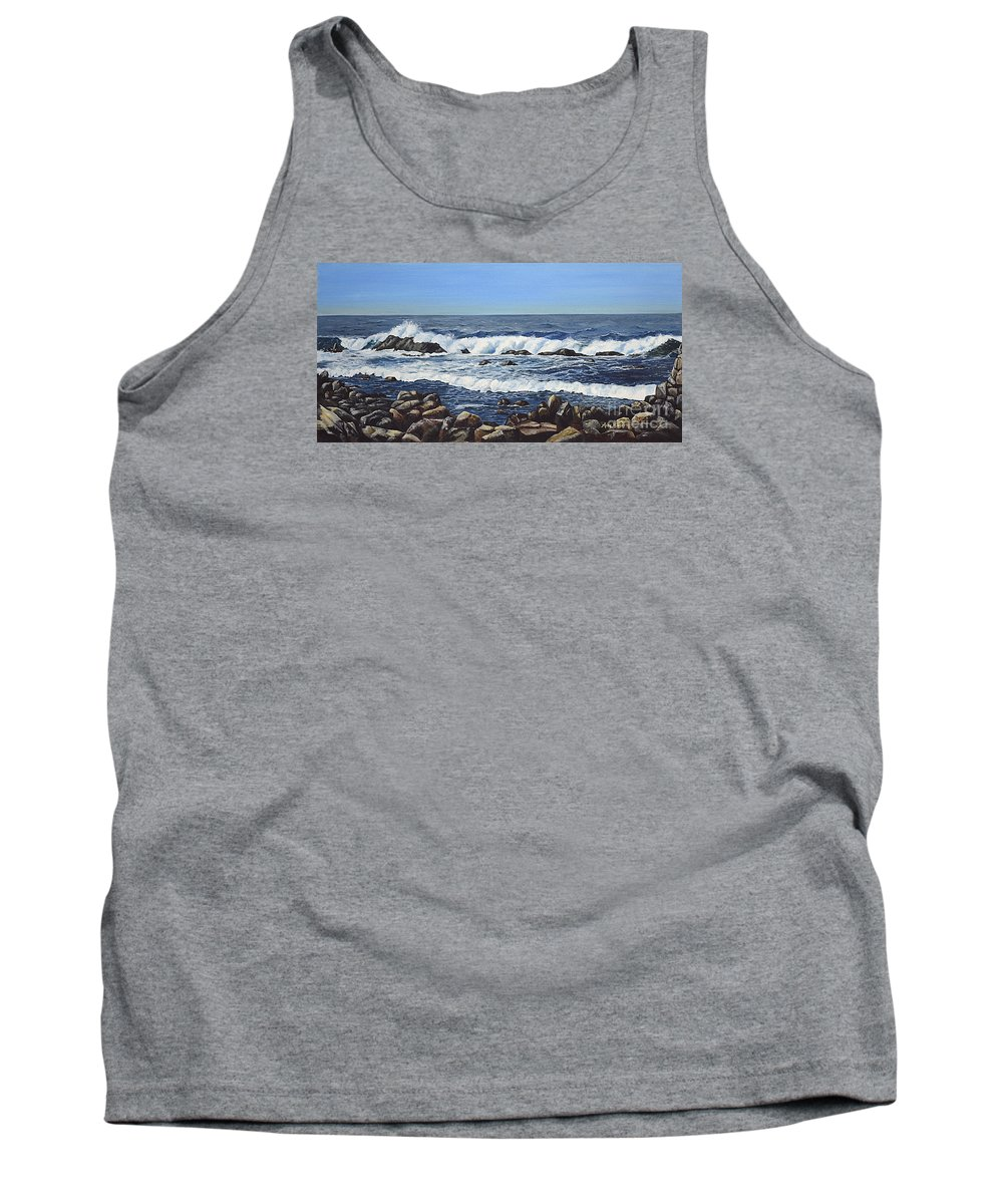 Art Tank Top featuring the painting California Coastline by Mary Rogers