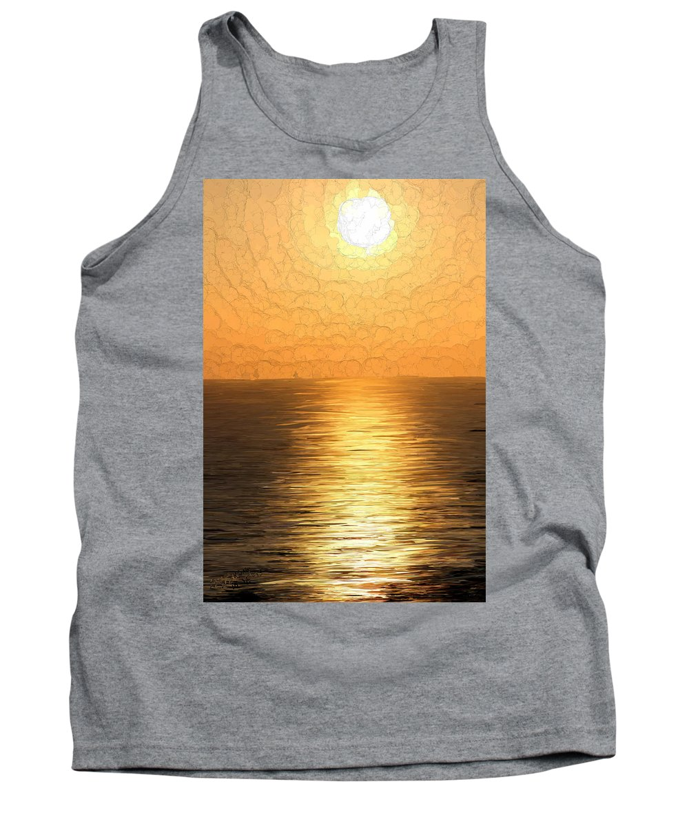 Sunset Tank Top featuring the painting Calm Sunset At Sea by Bruce Nutting