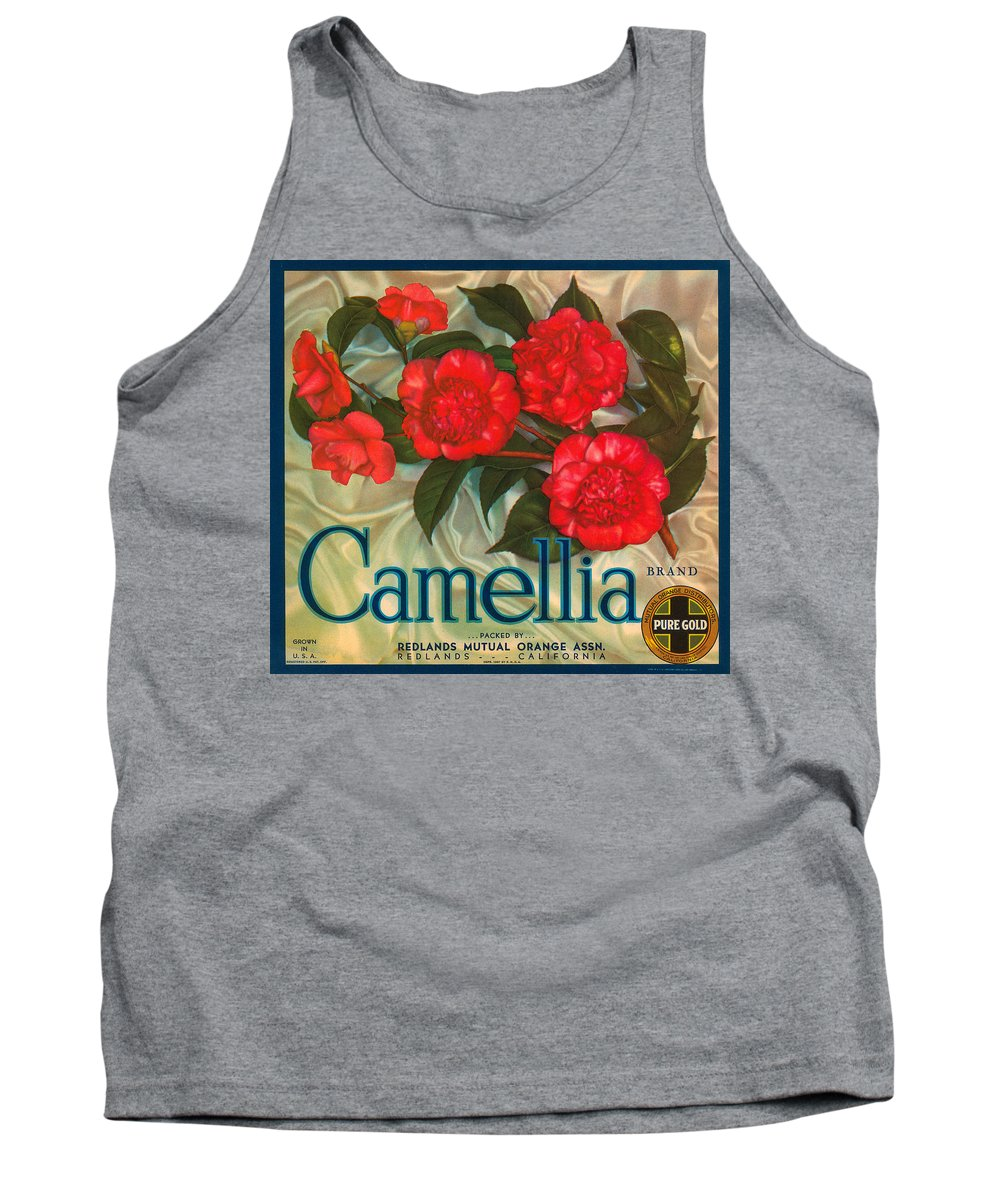 Camellia Crate Label Tank Top featuring the digital art Camellia Crate Label by Label Art