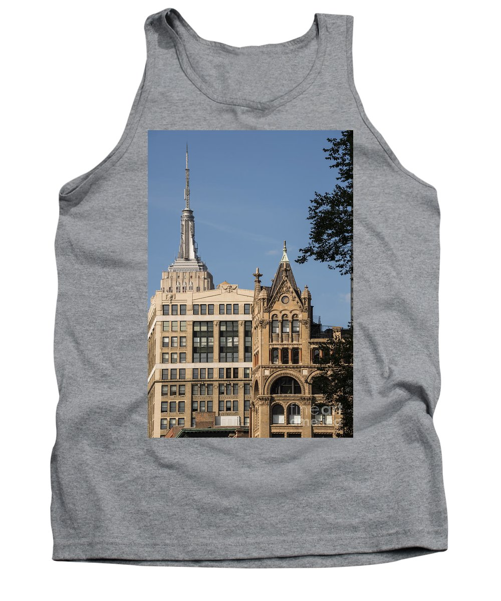 Empire State Building New York City Cityscape Cityscapes Buildings Architecture Cities Structure Structures Skyscraper Skyscrapers Tank Top featuring the photograph Can't Hide by Bob Phillips