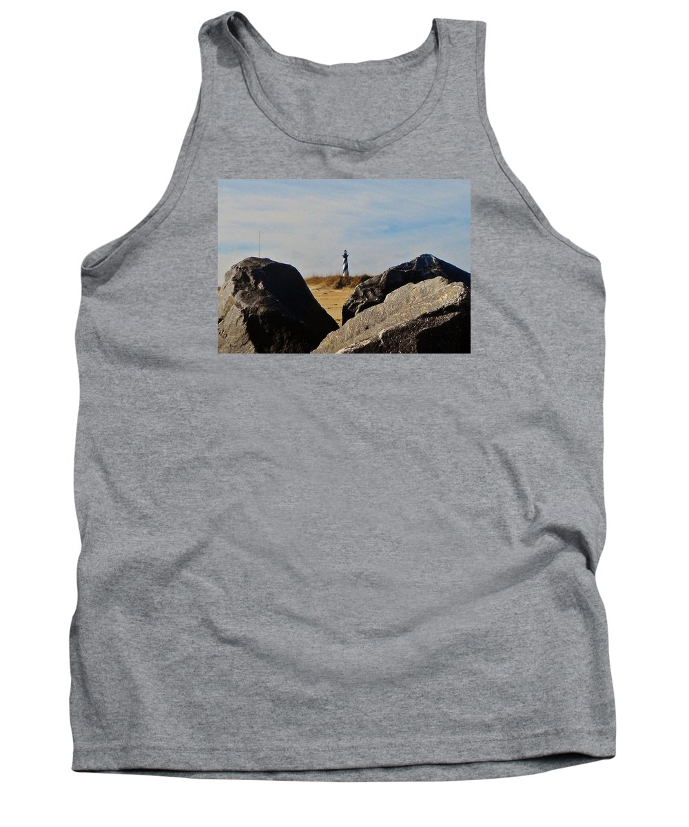Mark Lemmon Cape Hatteras Nc The Outer Banks Photographer Subjects From Sunrise Tank Top featuring the photograph Cape Hatteras Lighthouse Rocks 2 11/22 by Mark Lemmon
