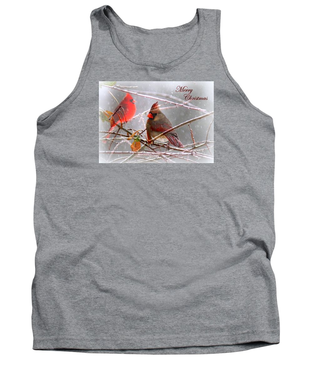 Cardinal Tank Top featuring the photograph Cardinals - Male And Female - Img_003card by Travis Truelove