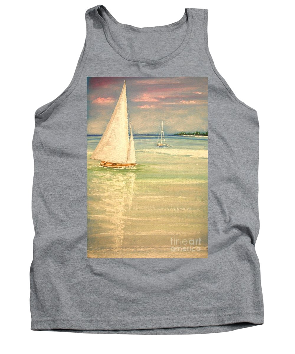 Tropical Tank Top featuring the painting Castaway by The Beach Dreamer