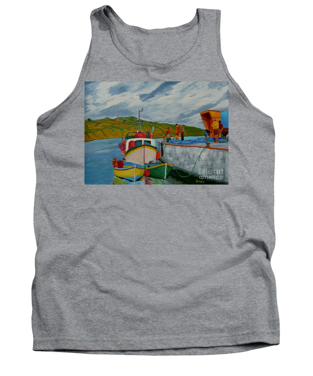 Boats Tank Top featuring the painting Catch Of The Day by Anthony Dunphy