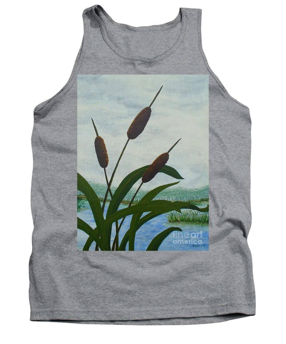 Cattails Tank Top featuring the painting Cattails by Lori Ziemba