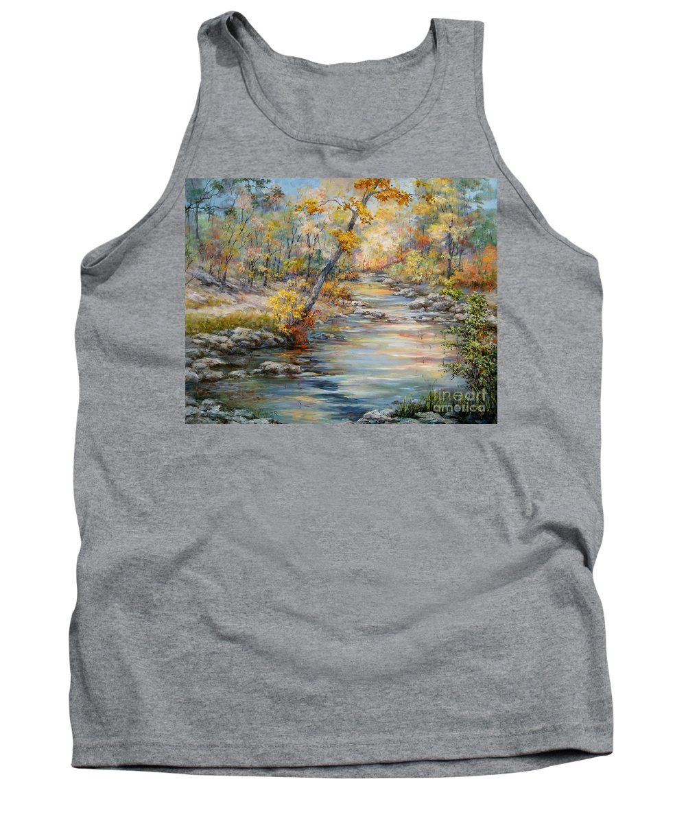 Landscape Tank Top featuring the painting Cedar Creek Trail by Virginia Potter