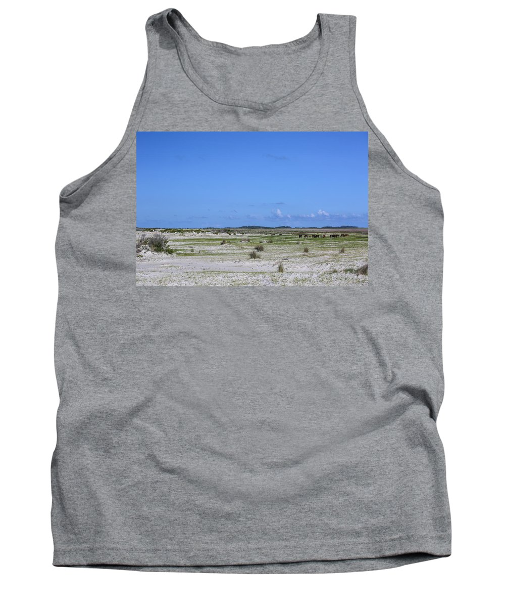 Wild Tank Top featuring the photograph Cedar Island Ponies by Paula OMalley