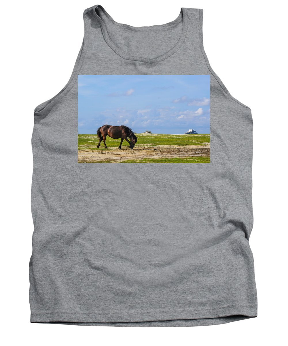 Wild Tank Top featuring the photograph Cedar Island Wild Mustangs 48 by Paula OMalley