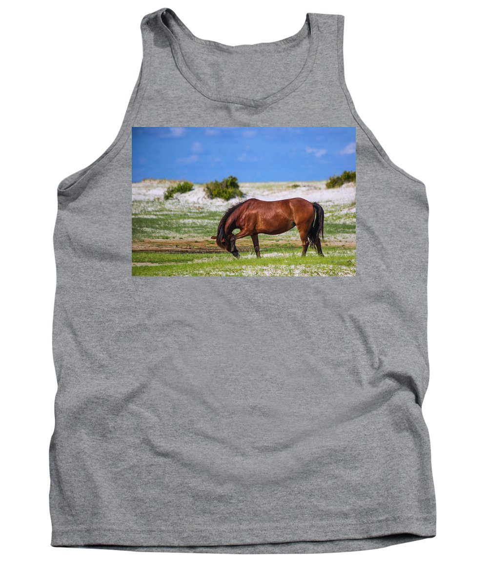 Wild Tank Top featuring the photograph Cedar Island Wild Mustangs 59 by Paula OMalley