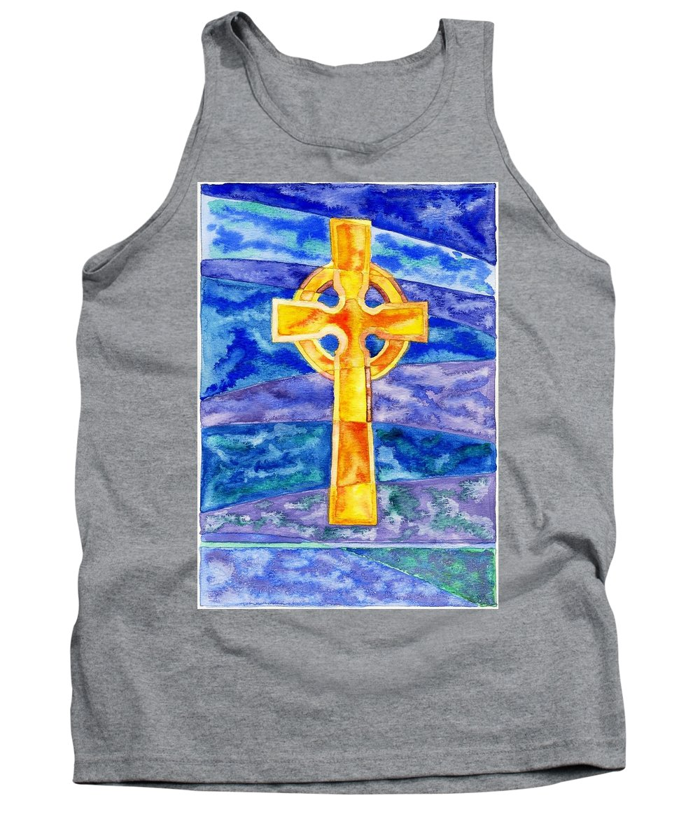Celtic Tank Top featuring the painting Celtic Cross by Micah Guenther