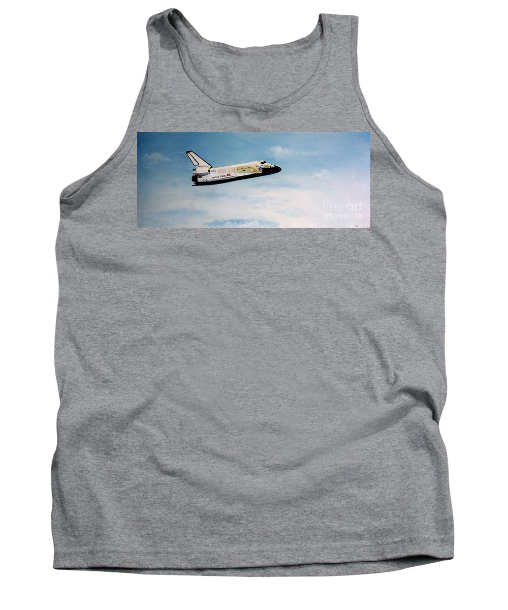 Shuttle Tank Top featuring the painting Challenger by Murphy Elliott