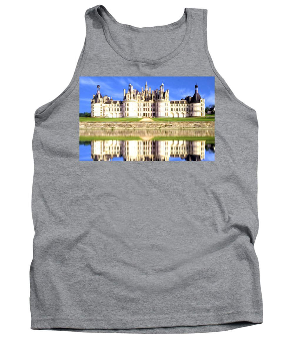 Chambord Tank Top featuring the painting Chambord Castle by Jeelan Clark