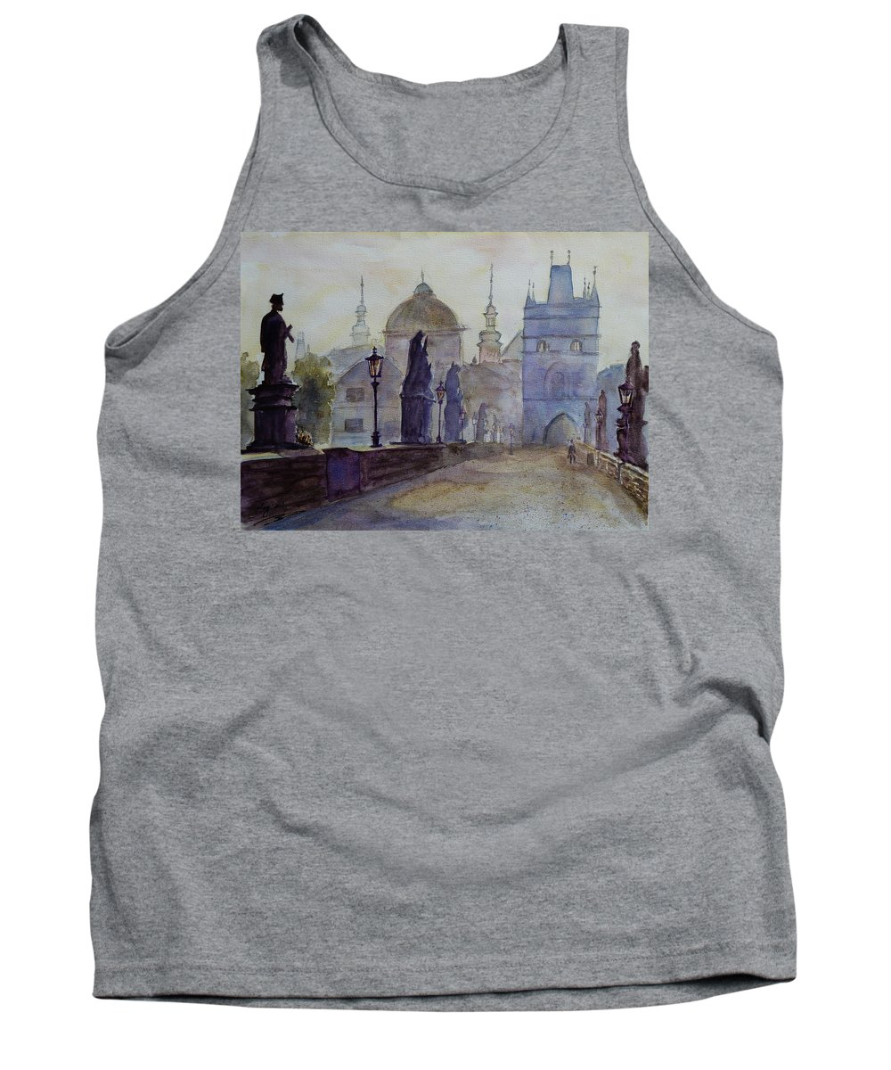 Dawn Tank Top featuring the painting Charles Bridge Prague by Xueling Zou