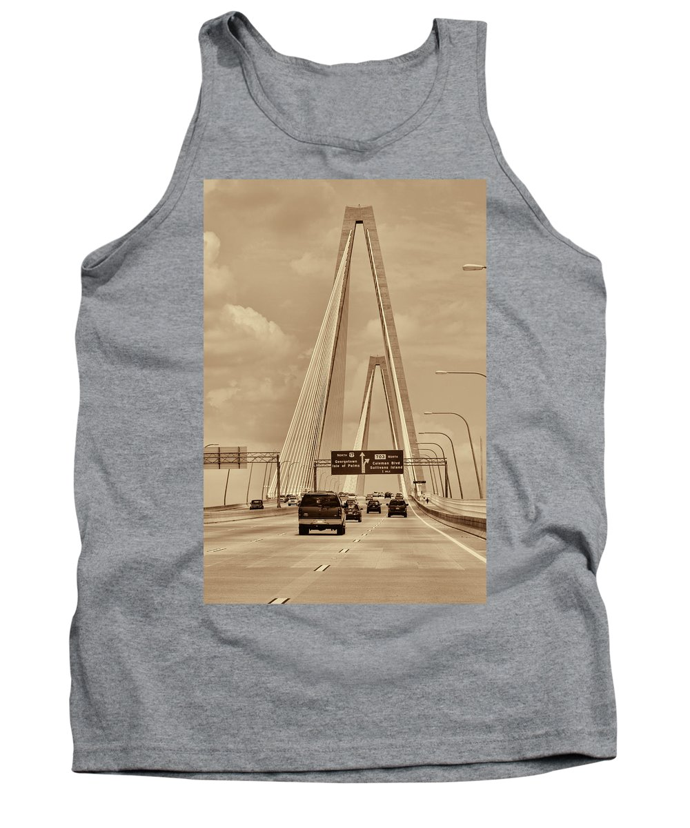 The Arthur Ravenel Jr. Bridge Tank Top featuring the photograph Charleston's Magnificent Cable Bridge In Sepia by Kathy Clark