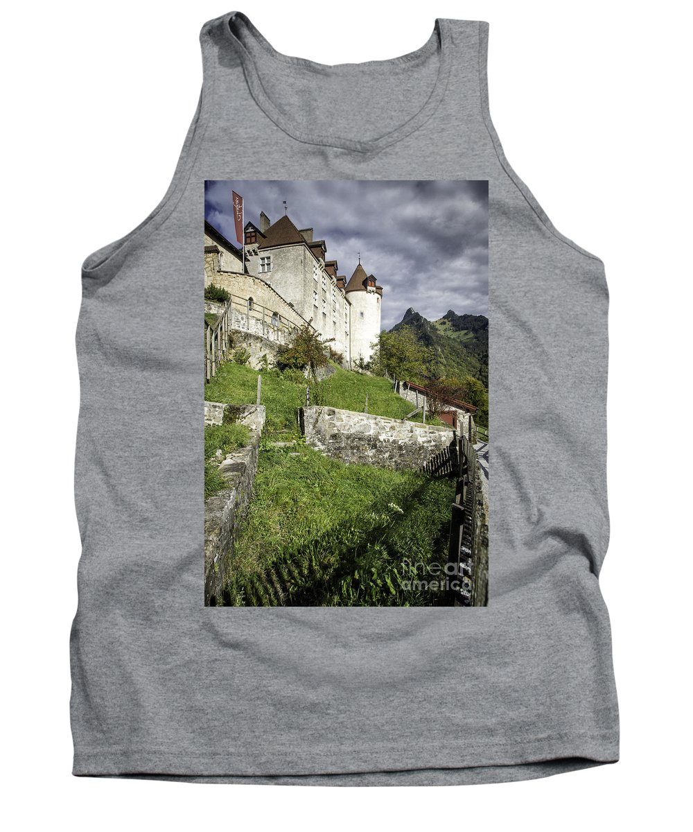 Leysin Tank Top featuring the photograph Chateau De Gruyeres by Timothy Hacker