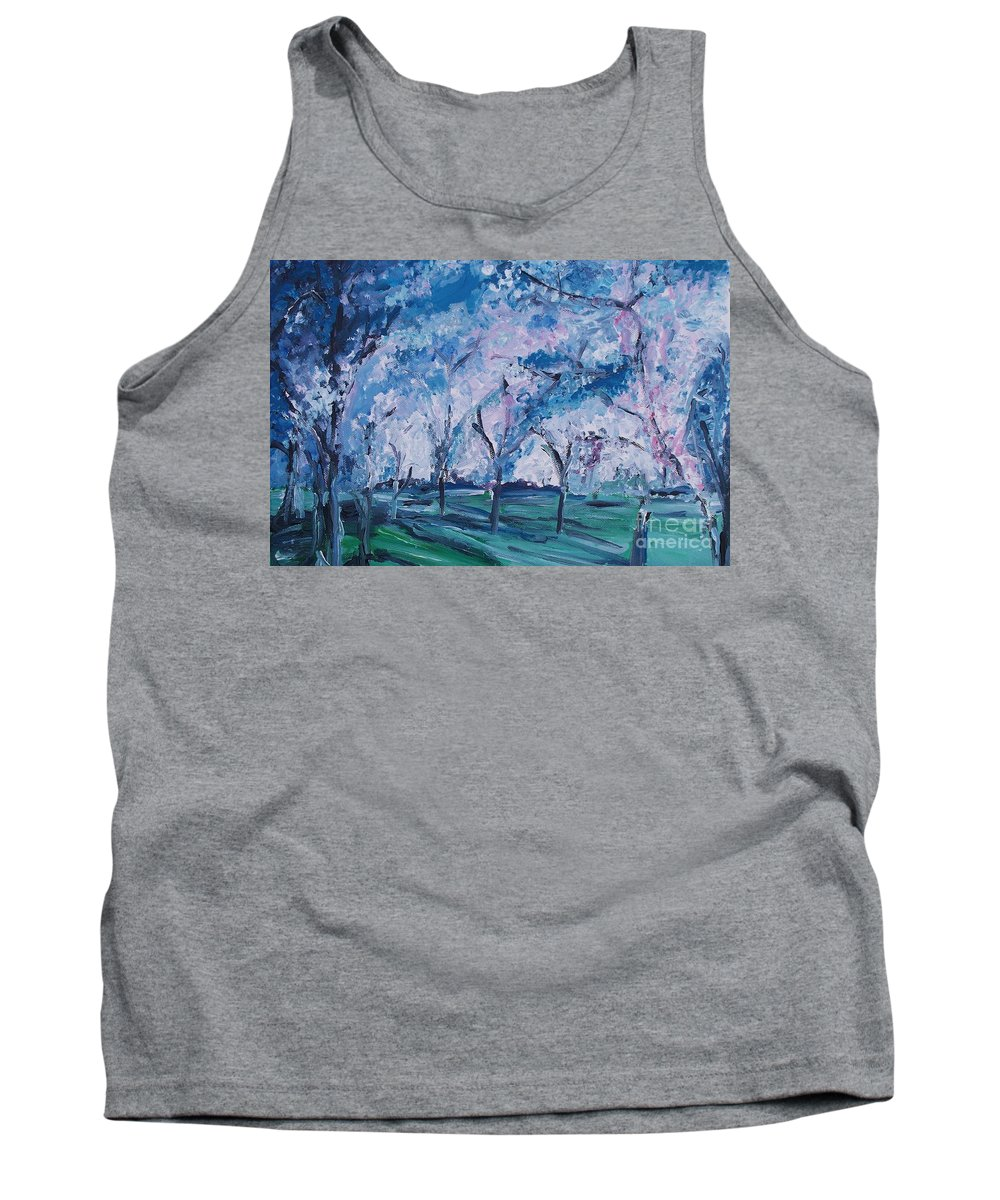 Cherry Trees Tank Top featuring the painting Cherry Trees Impressionism by Eric Schiabor