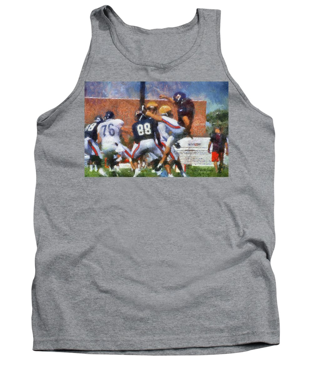 Chicago Bears Tank Top featuring the photograph Chicago Bears P Patrick O'donnell Training Camp 2014 Photo Art 02 by Thomas Woolworth
