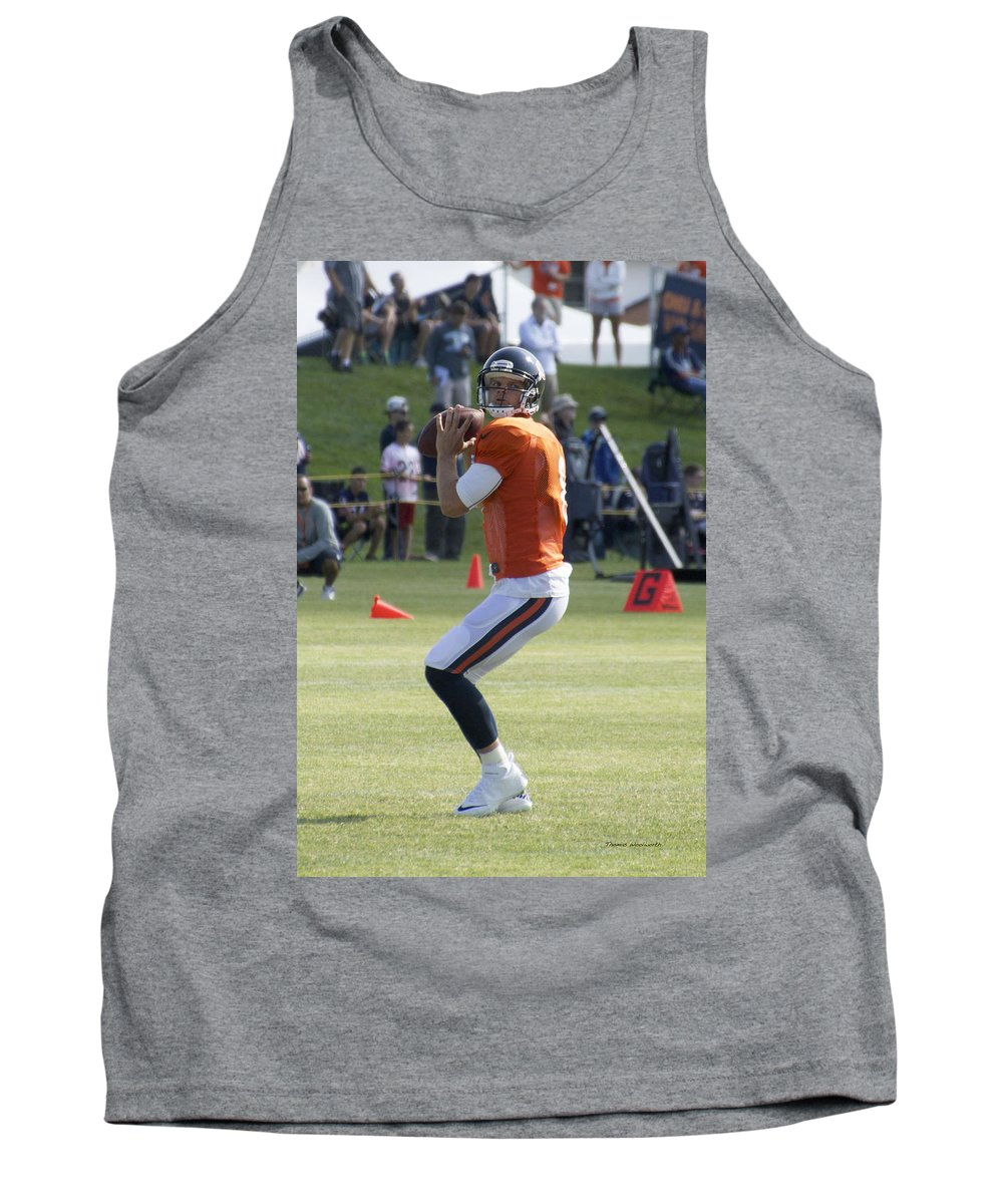 Chicago Bears Tank Top featuring the photograph Chicago Bears Qb Jimmy Clausen Training Camp 2014 03 by Thomas Woolworth