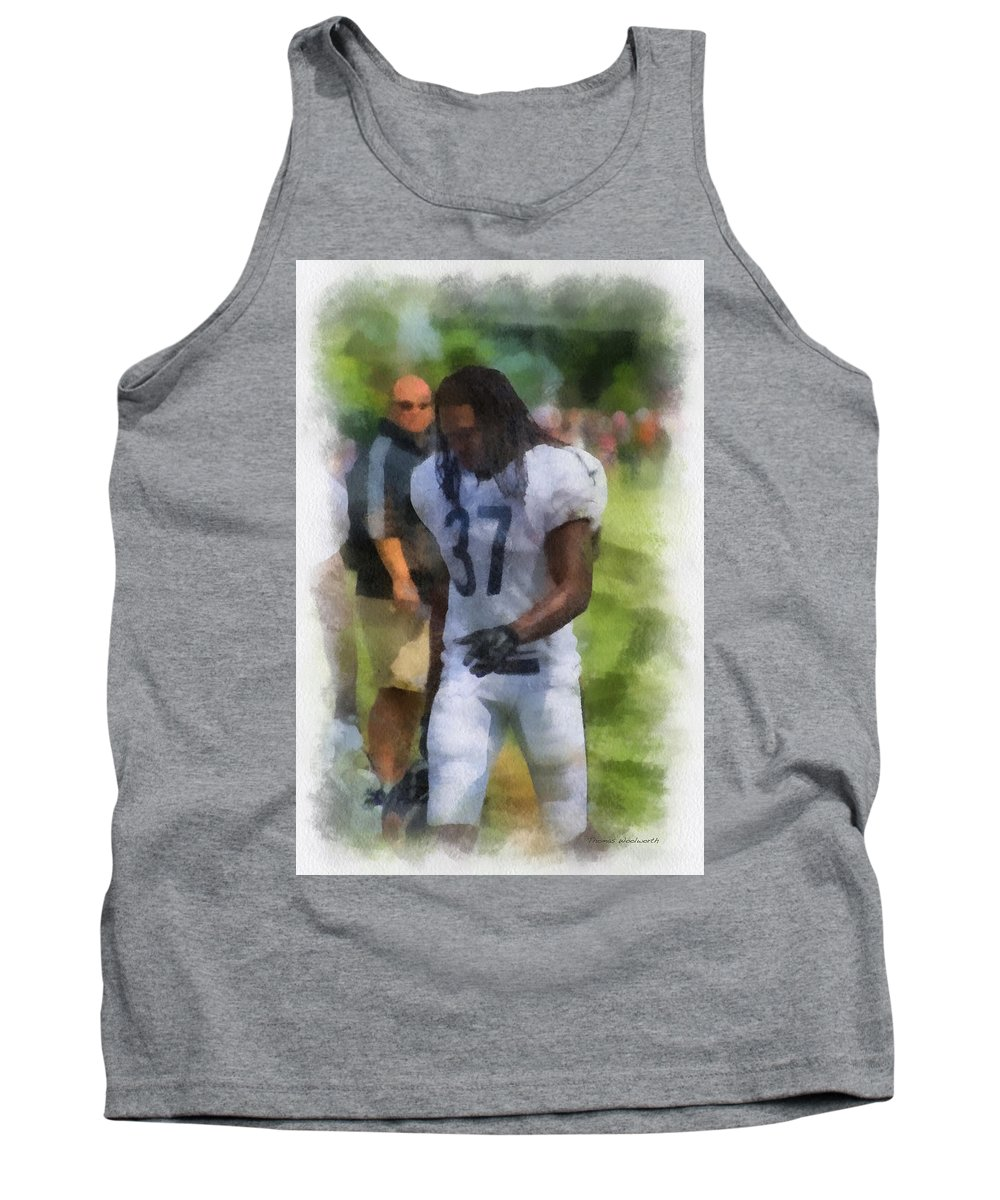 Chicago Bears Tank Top featuring the photograph Chicago Bears S M J Jennings Training Camp 2014 Photo Art 01 by Thomas Woolworth