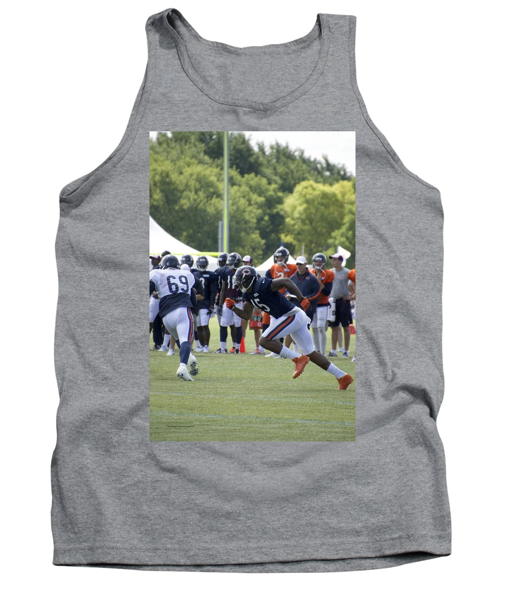 Chicago Bears Tank Top featuring the photograph Chicago Bears Wr Brandon Marshall Training Camp 2014 05 by Thomas Woolworth