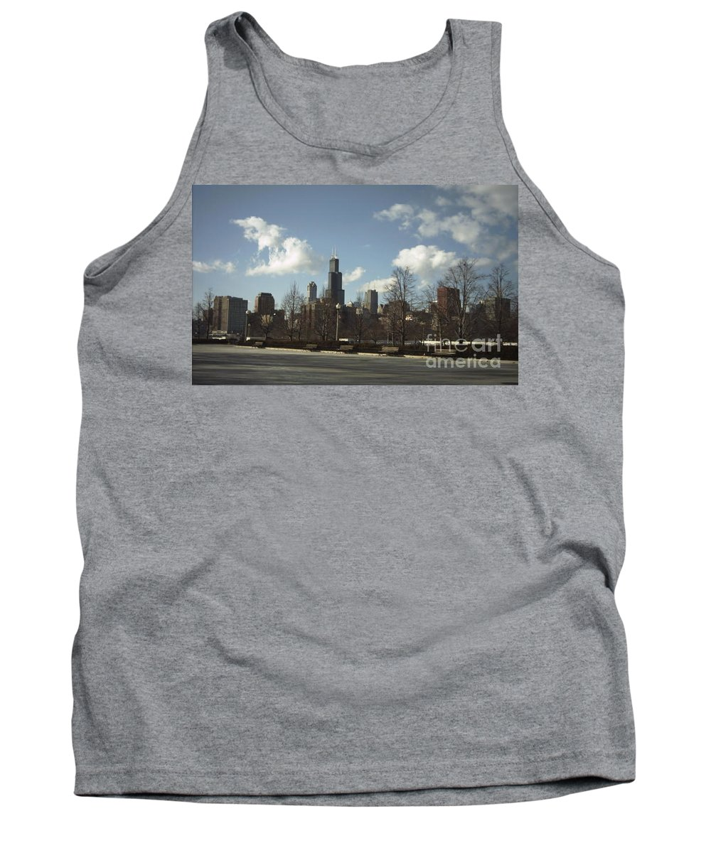 Chicago Skyline Tank Top featuring the photograph Chicago Skyline Postcard by Minding My Visions by Adri and Ray