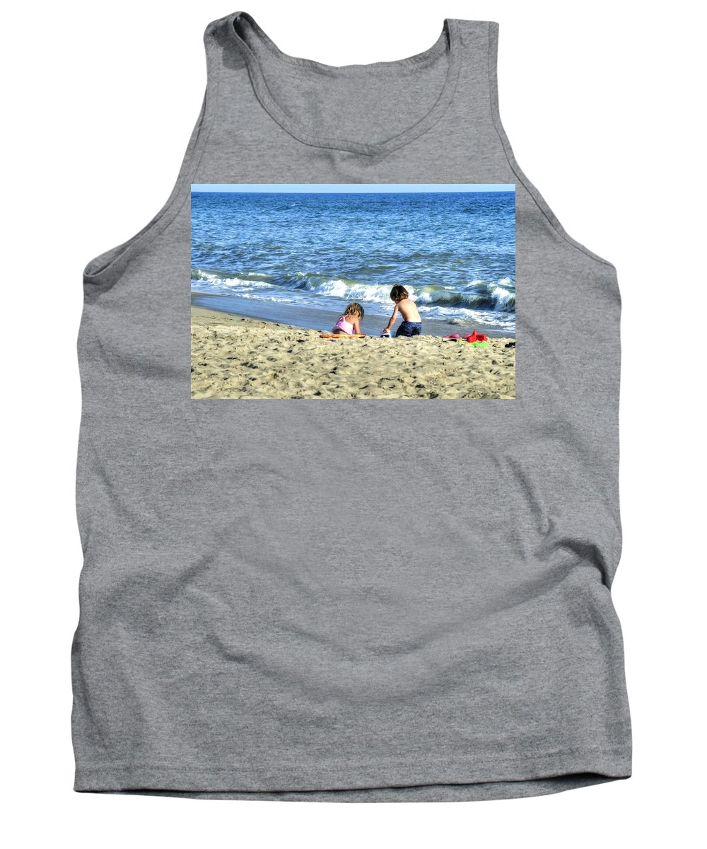 Child Tank Top featuring the photograph Children Playing On Beach by Donna Doherty