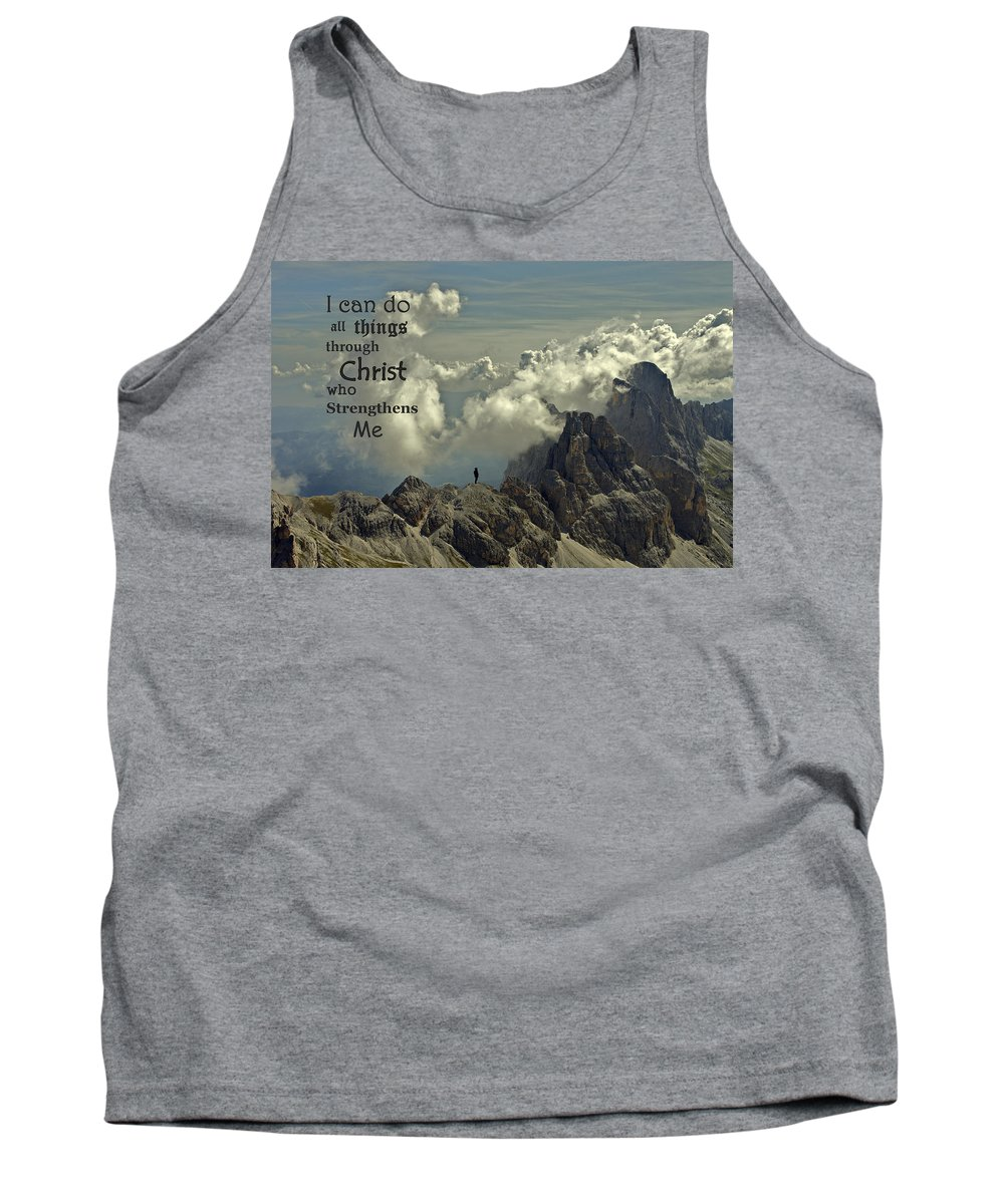 Christ Tank Top featuring the photograph Christ Strengthens Me by Movie Poster Prints
