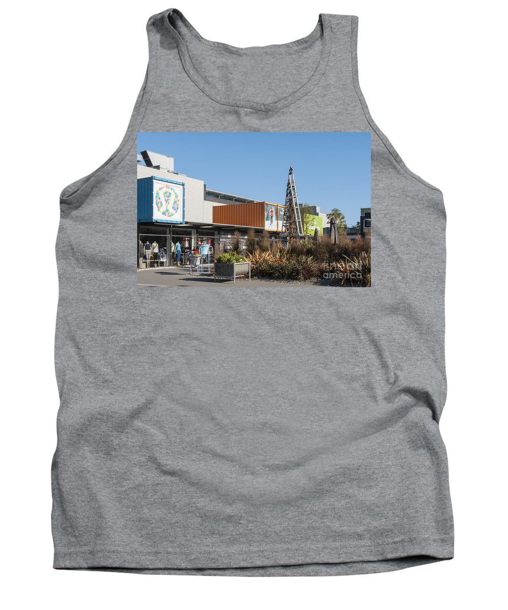Christchurch New Zealand Earthquake Restart Container Store Stores Shop Shops Containers Structure Structures Architecture City Cities Cityscape Cityscapes Tank Top featuring the photograph Christchurch Restart by Bob Phillips