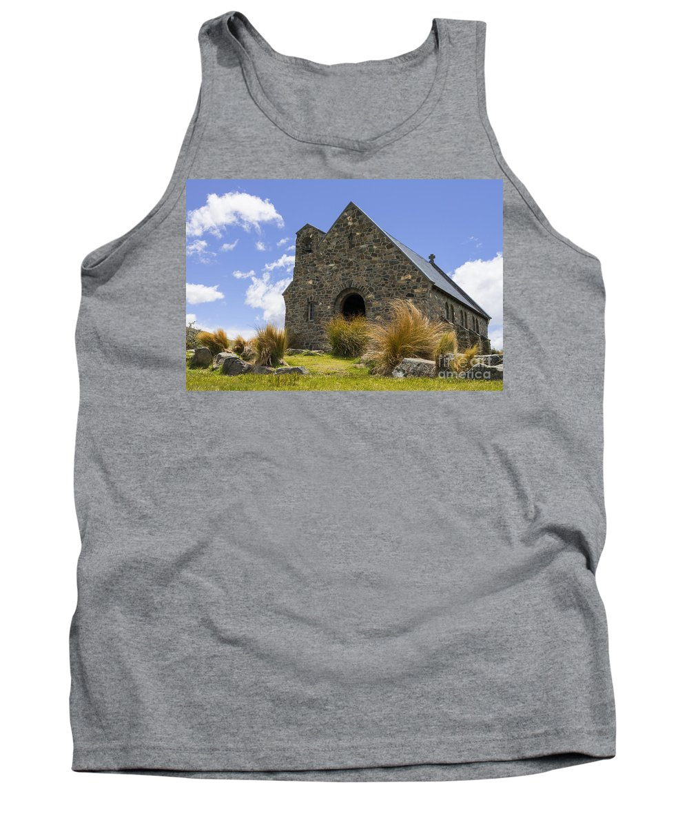 Church Of The Good Shepherd Lake Tekapo New Zealand Churches Red Tussock Plant Plants Grass Grasses Structure Structures Building Buildings Architecture R.s.d. Harman Landscape Landscapes Landmark Landmarks Tank Top featuring the photograph Church Of The Good Shepherd by Bob Phillips